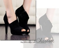 Ladies Faux Suede Hight Heel Platform Pumps Peep-toe  Sandals for Womens  free shipping S0020