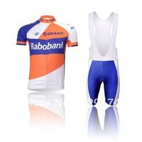 High Quality!!2014 Rabobank Cycling Jersey short sleeve bib pants/pants Quick Dry Breathable Cycling Clothing T45 XS-4XL GEL PAD
