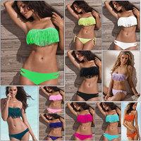 Women Sexy Tassel Pad Swimwear Bandeau Fringe Top+Bottom Swimsuit Bikini Set