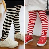Free Shipping 1PC/Lot  2014 Spring Autumn Children Girl Kids Stripes Leggings Baby Girls Child  Trousers Full Length Pants Gift