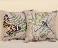 Free shipping high quality linen invisible zipper vintage butterfly &  dragonfly cushion cover/pillow cover 45*45cm