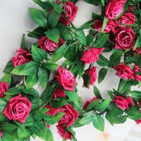 Rose vine wedding arch decoration flower silk flower artificial flower roll-up hem rose flower