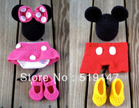 Free shipping cute  Mickey and Minnie style baby hat and skirt handmade crochet photography props newborn baby cap and shorts