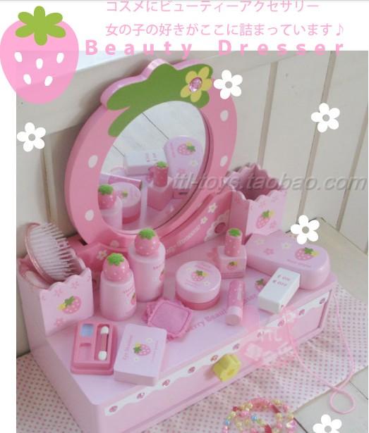 free shipping Mother garden wooden toy birthday pink strawberry dresser(China (Mainland))