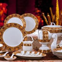 Porcelain 56 jingdezhen ceramic dishes plate bone china dinnerware set quality wedding gift tableware