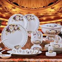 Dinnerware set 56 jingdezhen ceramic tableware dishes plate set wedding gifts
