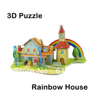 Hot Selling!! Super 3D Puzzles Rainbow House Kids Educational DIY Toys Puzzle For Children Adults House Castle