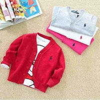Fashion baby children multi-color shirts of high quality pure cotton cardigan sweater 6 colors