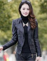 2014 sale limited korean woman pu leather jacket fashion jaqueta oblique zipper slim jackets lapel sleeves shipping sa09-115
