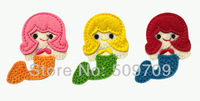 Little Colorful Mermaid Embroidery Iron On Patch, Children Cute Clothes Patch DIY Cloth Accessories Wholesale