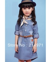 freeshipping2014 new autumn children's clothing girls casual princess dresses kids cotton thin denim long-sleeve dress 5sets/lot