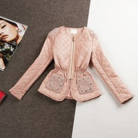 Free Shipping new arrival ladies' spring handmade beading solid color fashion elegant slim coat wadded jacket(Pink)131229#29