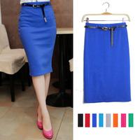 women cotton Skirt  Women's Business Suit Pencil Skirt Elegant 100% cotton Vocational OL Skirts Include Free Belt