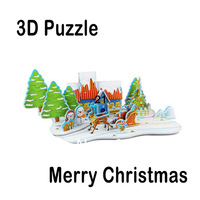 Hot Selling!! Super 3D Puzzles Merry Christmas Kids Educational DIY Toys Puzzle For Children Adults House Castle