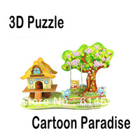 Hot Selling!! Super 3D Puzzles Cartoon Paradise Kids Educational DIY Toys Puzzle For Children Adults House Castle