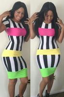 New 2014 Fashion Sexy Striped Bodycon Dresses Women Bandage Dress Colorful Novelty Dresses S,M,L  5601