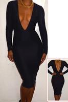 HOT New Fashion 2013 Black,Red Deep V-NECK Bandage Dress Backless Bodycon Dress Sexy Dress Women Plus Size S M L 5593