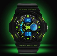 fashionable LED green big dial army watches good quality black rubber soft band sports watch alarm digital wristwatch SKMEI0955