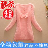 2013 autumn bow shaggier sweater loose pullover sweater autumn women's Women