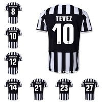 juventus home/ away short sleeve soccer uniforms 2013 2014 Original logo thai quality 10# TEVEZ football jerseys