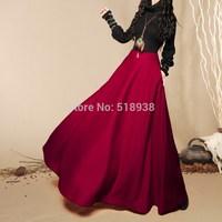 2014 autumn winter women new vintage fashion wool woolen long skirts floor-length maxi black red navy brand casual skirt womens