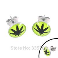Free shipping! Enamel Marijuana Leaf Earring Body Piercing Stainless Steel Jewelry Trendy Earring Studs SJE370020