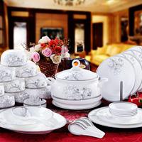 Quality ceramic dinnerware set bone china tableware 56 silver bordered silver