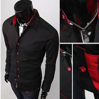 Free shiping 2o14 Men's shirt Fashion Casual Slim Fit Stylish cotton Long Sleeve dress shirts Luxury Black M L XL Wholesale