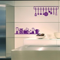 Free shipping (85*70CM) unique wall stickers home decals for kitchen room removable cooking tools home sticker PVC sticker