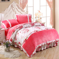 Ruffle thickening FL velvet sheets duvet cover piece set plus size falagou flannel fleece