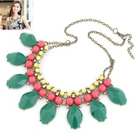 Wholesale Women Fashion Jewelry New Arrival Luxury Neon Green Imitation Gemstone Charm Choker Necklace