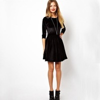 Newest 2014 Free Shipping Spring Ladies' Clothes Fashion EUROPE Velvet Sample Slim Sexy Black Long Sleeves Dress For Women