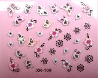 20pcs/lot Nail art diy nail polish oil applique colored drawing 3d stickers multicolour net smd