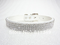 Free Shipping Pet Products Puppy Dog Collars 4-Row Rhinestone PU Leather Crystal Diamond Cat Collars White Small