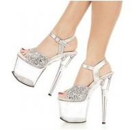 Fashion high-heeled shoes 20cm thin transparent crystal platform heels high-heeled shoes wedding shoes sandals size 35-44