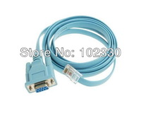 Blue 1.5m 5Ft Network RJ45 to 9pin RS232 DB9 Router Ethernet Adapter Flat Cable