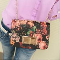 BUENO hot new style women oil painting handbag fashion flower shoulder bag chain clutch bags HL072