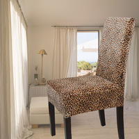 Gold velvet leopard print all-inclusive one piece chair cover dining chair set professional customize good workmanship jsr01