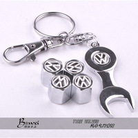 Free shipping Car Wheel Tire Valve Caps with Mini Wrench & Keychain for VW Volkswagen (4-Piece/Pack)