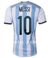 2014 brazil world cup Argentina Home  #10 Messi soccer jersey Grade Original thai quality football unifroms shirt