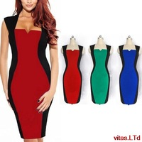 New Fashion2014  Elegant Women Square Collar Sleeveless Knee-length Optical Illusion Color Block Party  Cocktails Pencil Dress