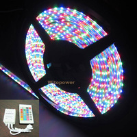 free shipping Side Emitting 335 RGB LED Strip 5M 600 Leds Light Waterproof 12V& IR Controller