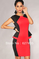 Wholesale!FREE SHIPPING!(10pieces)100% Brand New Women's Sexy Dress/Black Red Color-Block Peplum Sides Dress,LC2967
