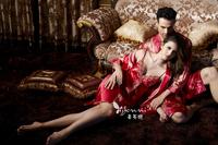 spring autumn fashion adult pajamas set, cute lover couple o-neck full sleeve sleepwear, women men nightgown