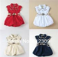 Free Shipping(5pcs/lot) 2014 Brand New Fashion Girls Dress Kids Fashion British Style Dress Children's Summer Brand Clothing
