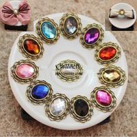100pcs/lot 30*25MM Alloy jewelry accessories metal rhinestone button wedding embellishment hair bow garment DIY accessory
