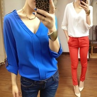 Free Shipping ! Big yards version v-neck fashion long-sleeved loose women chiffon unlined upper garment