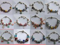 Classical Silver Brand Charm Bracelet Silver Glass European Beads Charm Bracelet Promotion Price Bracelet  Xmas Gift  Bracelet