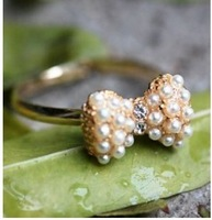Sakura's Store R1168 accessories gold pearl inlaying small bow ring finger ring 5g