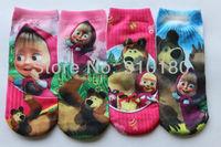 Free Shipping baby masha and bear cartoon socks Wholesale baby cotton socks for 2 to 12 years 6 pairs/lot
